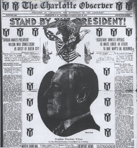 President Wilson Charlotte Observer Front Page May 20 1916